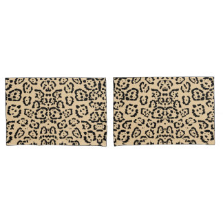 Bold Coffee Leopard Animal Cat Print Brown Pillowcase
