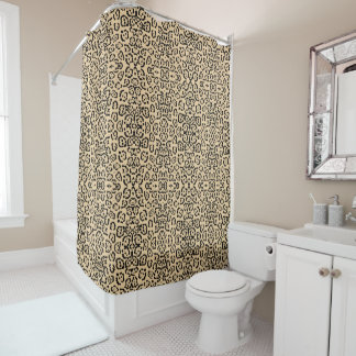 Bold Coffee Leopard Animal Cat Print Brown Shower Curtain