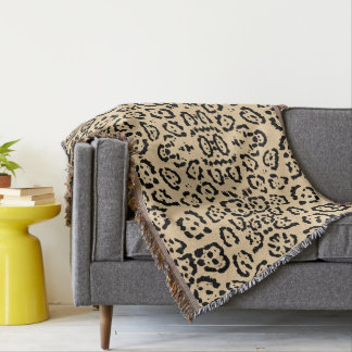 Bold Coffee Leopard Animal Cat Print Brown Throw Blanket