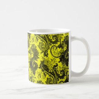 Bold Colored Paisley - Yellow and Black Basic White Mug
