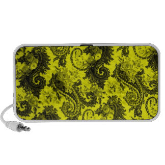Bold Colored Paisley-Yellow and Black Portable Speakers