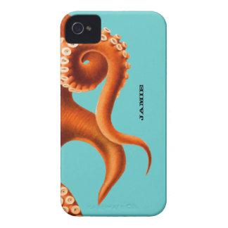 Bold Colorful Aqua and Orange Octopus iPhone 4 Cases