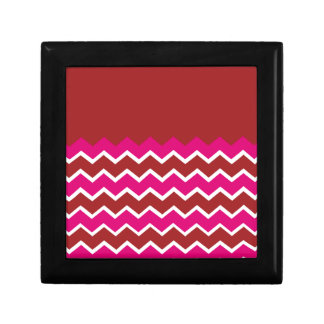 Bold Colorful Chevron Zigzag Pattern Red Hot Pink Jewelry Box