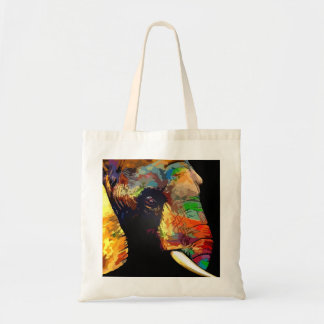 Bold Colorful Elephant Head Portrait Tote Bag