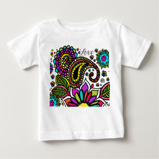 Bold Colorful Flower Love Paisley Kids Art Baby T-Shirt
