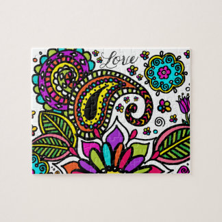 Bold Colorful Flower Love Paisley Kids Art Puzzle