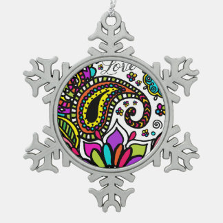 Bold Colorful Flower Love Paisley Kids Pewter Snowflake Pewter Christmas Ornament