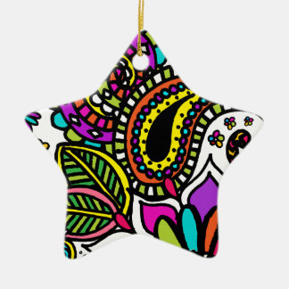 Bold Colorful Flower Love Paisley Star Ornament