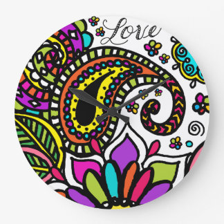 Bold Colorful Flower Love Paisley Wall Clock