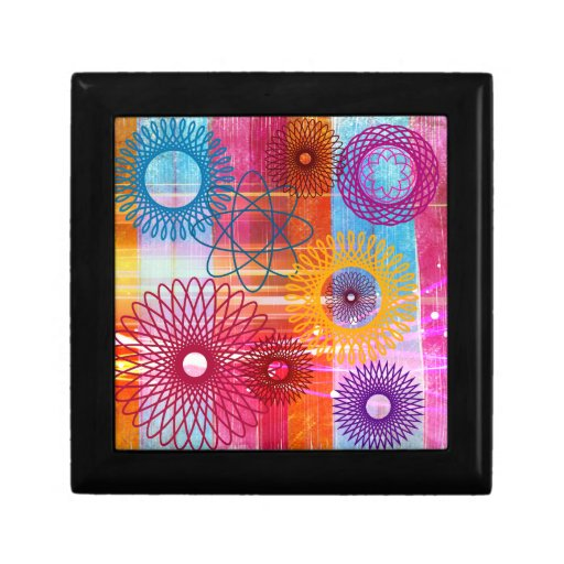 Bold Colorful Funky Spirographs and Stripes Jewelry Boxes