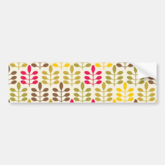 Bold Colorful Leaf Pattern Pink Green Brown Yellow Bumper Sticker