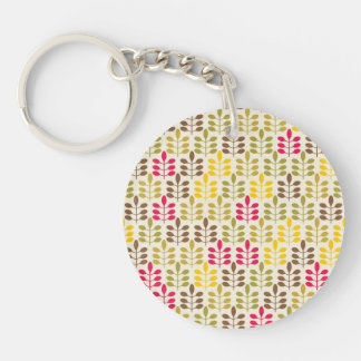 Bold Colorful Leaf Pattern Pink Green Brown Yellow Double-Sided Round Acrylic Key Ring