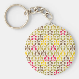 Bold Colorful Leaf Pattern Pink Green Brown Yellow Keychains