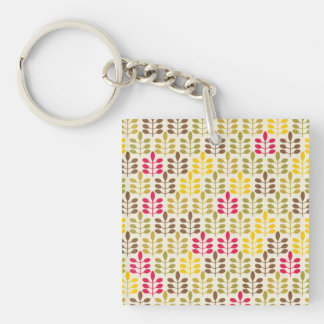 Bold Colorful Leaf Pattern Pink Green Brown Yellow Double-Sided Square Acrylic Key Ring