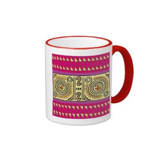 Bold Colorful Quenacho Crimson Ringer mug
