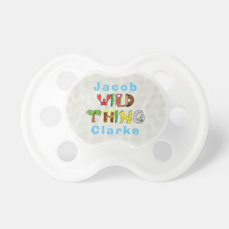 Bold Colorful Wild Thing Personalized Name Baby Dummy