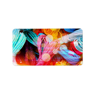 Bold Colorful Yarn Threads and Light Beams Address Label