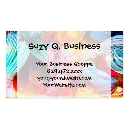 Bold Colorful Yarn Threads and Light Beams Business Card Templates