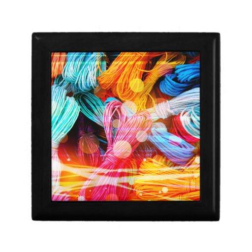 Bold Colorful Yarn Threads and Light Beams Keepsake Box
