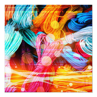 Bold Colorful Yarn Threads and Light Beams Personalized Announcement