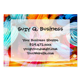 Bold Colorful Yarn Threads and Light Beams Pack Of Chubby Business Cards