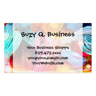 Bold Colorful Yarn Threads and Light Beams Pack Of Standard Business Cards