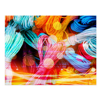 Bold Colorful Yarn Threads and Light Beams Postcard