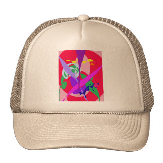 Bold Colors Abstract Art Red Trucker Hat