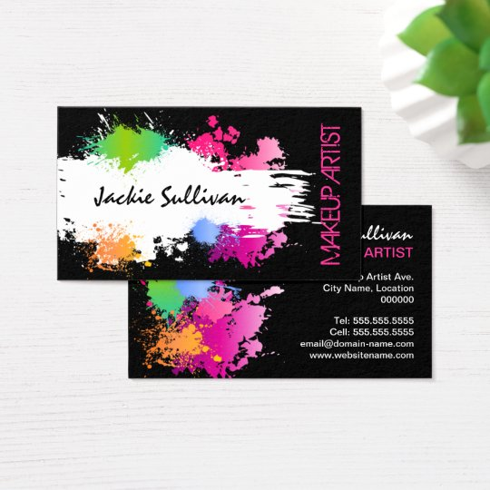 Bold Colour Splash Makeup Artist Business Card