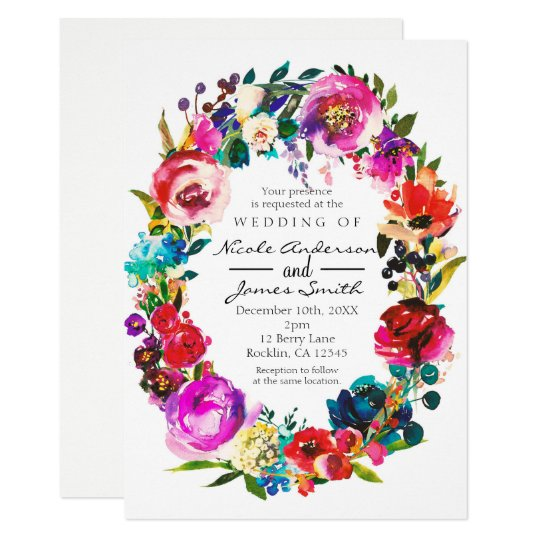 Bold Colour Watercolor Floral Wreath Wedding Card