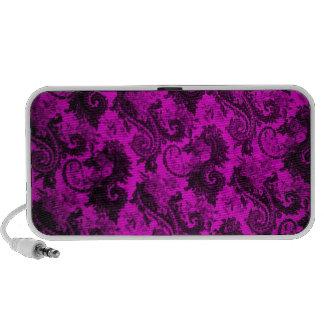 Bold Coloured Paisley-Pink and Black iPod Speakers