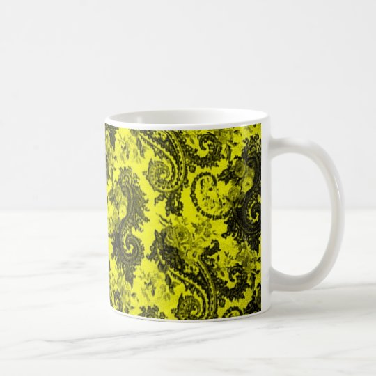 Bold Coloured Paisley - Yellow and Black Coffee