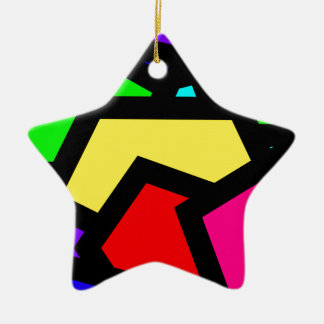 Bold colourful abstract ceramic star decoration