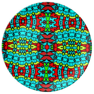 Bold, colourful, geometric, tribal plate