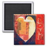 Bold Colourful LOVE  Abstract Valentines Square Magnet