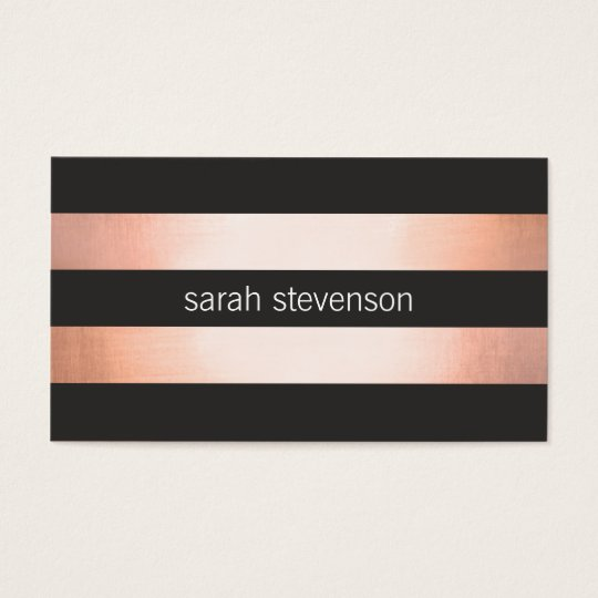 Bold Copper Faux Foil Black Striped Modern Business