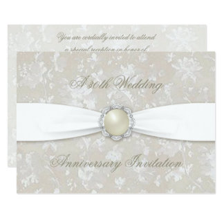Bold Damask 30th Wedding Anniversary 5x7 Invite