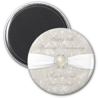 Bold Damask 30th Wedding Anniversary Round Magnet
