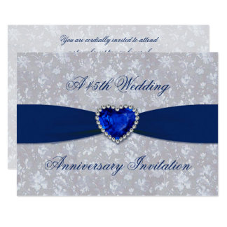 Bold Damask 45th Wedding Anniversary 5x7 Invite
