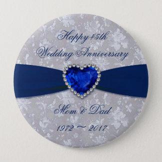 Bold Damask 45th Wedding Anniversary Magnet 10 Cm Round Badge