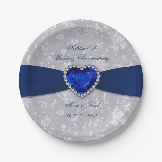 Bold Damask 45th Wedding Anniversary Paper Plates