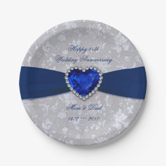 Bold Damask 45th Wedding Anniversary Paper Plates 7 Inch Paper Plate