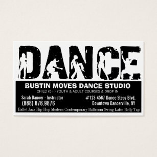 Dance studio business cards business card printing zazzle uk bold dance studio black and white business card colourmoves