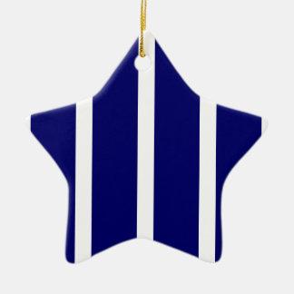 Bold Dark Blue Stripes Christmas Ornament