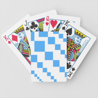 Bold descending kite tail block pattern in blue an bicycle playing cards