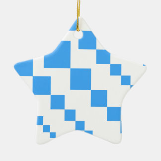 Bold descending kite tail block pattern in blue an christmas ornament