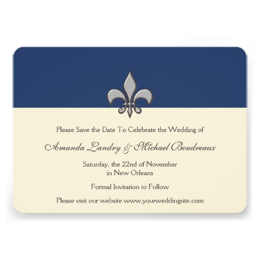 Bold Elegance Silver Fleur de Lis Save the Date Personalized Announcements