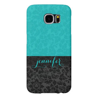 Bold Elegant Black & Turquoise Floral Damasks Samsung Galaxy S6 Cases