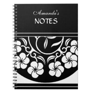Bold Elegant Stylish Black and White Flower Design Spiral Notebook