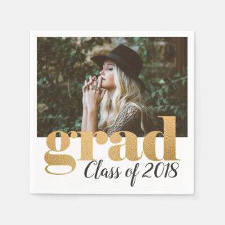 Bold Faux Gold Foil Typography Grad Photo Disposable Serviette